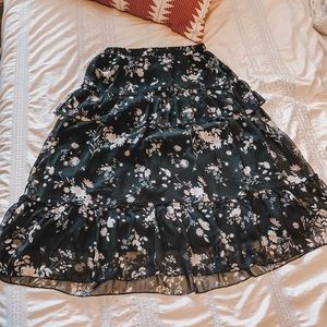 Mid-shin length floral skirt